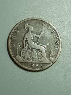 1888年 維多利亞 one penny