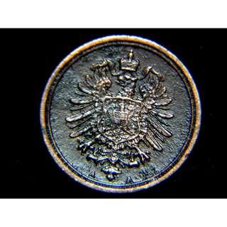 1876年德意志帝國皇家大鷹國徽1分寧銅幣(德皇威廉一世時期)