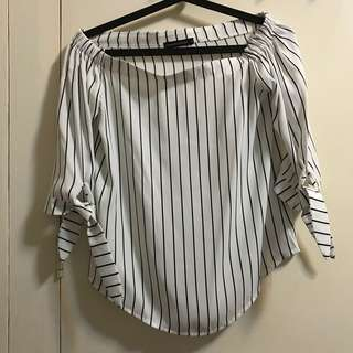 White Striped Blouse (Off-Shoulders )