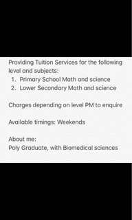 Tuition for Primary and Lower Sec