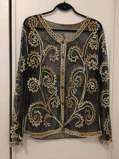 Vintage mesh cardigan with ribbon embroidery