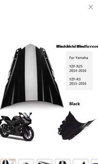 YAMAHA R3/R25 wind shield bubble black