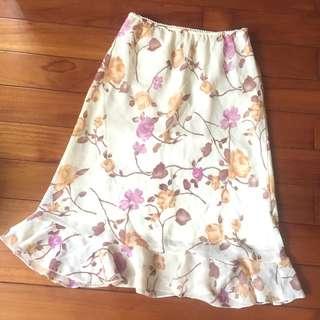 🚚 夏日花卉荷葉邊雪紡裙 中長裙 及膝裙~優雅氣質款