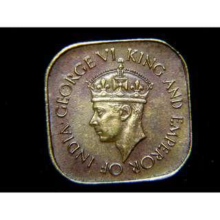 1942年英屬錫蘭(British Ceylon)5仙方形黃銅幣(英皇佐治六世像,二戰時期)