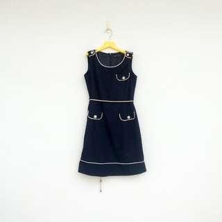 🚚 二手 法國製 agnes b 端莊 深藍 貴氣 綁繩 洋裝 明太子 617