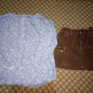 Take L.O.G.G. Top &Old Navy Skirt(Size 3-4y/o)
