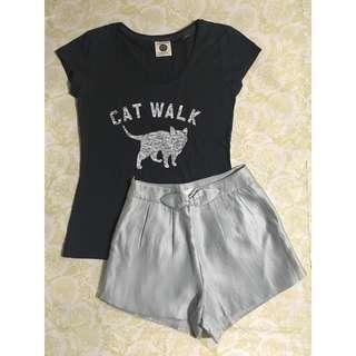 SET: Cotton On Catwalk Shirt + Highwaist Ribbon Shorts