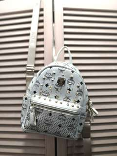 Mcm white small backpack
