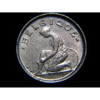 1922年比利時王國(Kingdom of Belgium)備戰中的比女神1/2法郎鎳幣