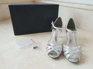 Silver Heels Embedded with Rhinestones