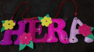 Keychains, name banner etc