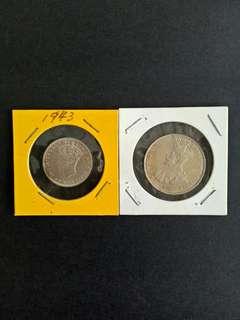 Malaya Coins 20-50 Cents 2pcs $20