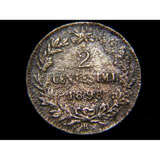 1898年意大利王國意皇胡伯圖一世像2仙銅幣