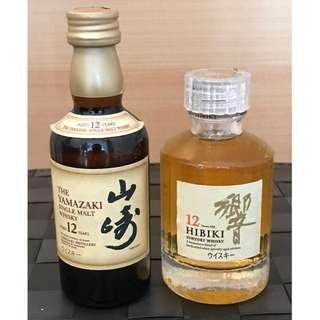 響12年 + 山崎12年 威士忌酒辦各1支(50ml)