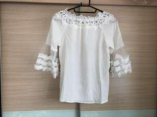 🚚 🔥免運🔥全新白色網紗袖上衣