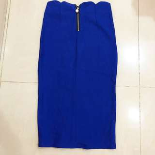 Blue bandage midi skirt