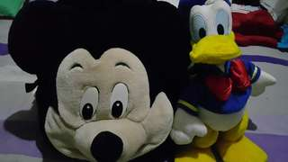 Mickey Mouse back pack + Donald duck stuffed toy for sale