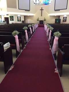 30 Pink sashes for wedding aisle