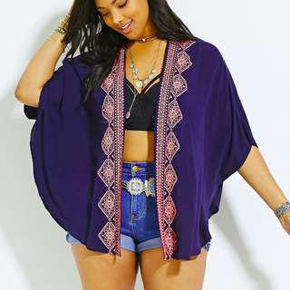 Forever 21 Plus Size Embroidered Kimono 3X