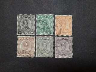 Pahang 1935 Sultan Abu Bakar Loose Set Up To 10c - 6v Used Malaya Stamps