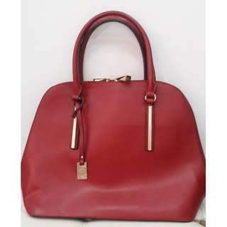 Caprisa Red Faux Leather Handbag/Shoulder Bag