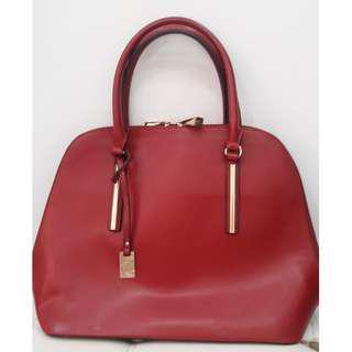 Caprisa Red Faux Leather Handbag/Shoulder Bag