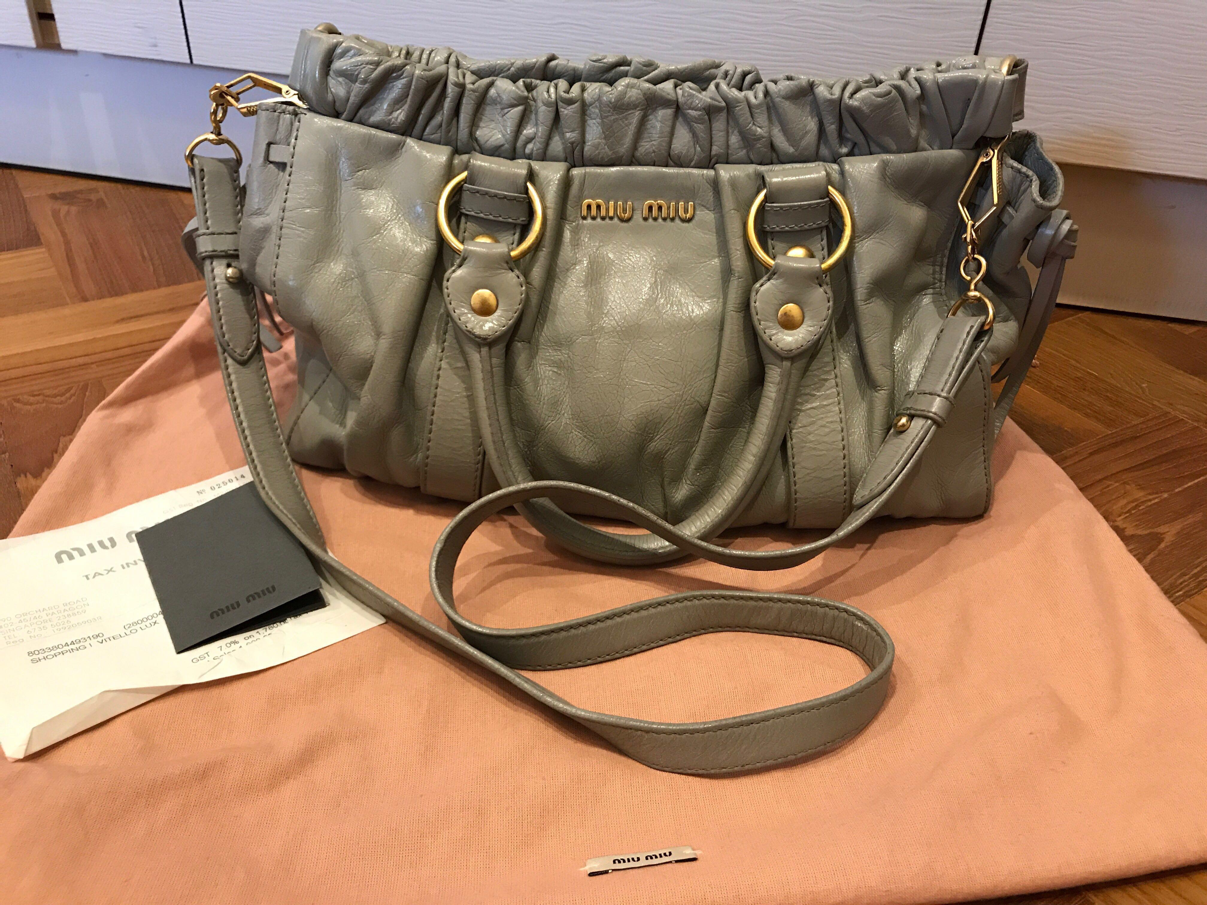9b019fbb921b 100% Authentic Miu Miu Lux Vitello Bauletto Aperto Hand Bag Sling ...