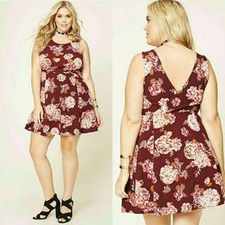 🍃Sexy Back Red Floral Plus Size Dress