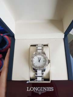 Longines Conquest Mother of Pearl Diamond Stainless Steel Watch