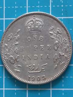 India- British King Edward Silver Coin  1 Rupee Year 1903