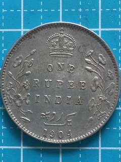 India- British King Edward Silver Coin 1 Rupee Year 1904