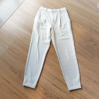 Uniqlo white stripe pants