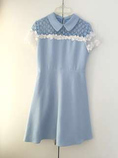 (Hold) Bread n Butter Baby Blue Layered White Lace Dress