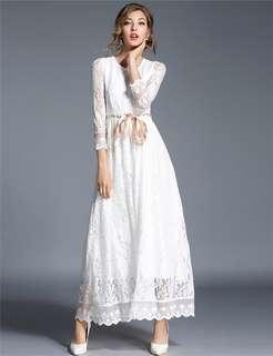 Maxi: White Autumn Tying Waist Floral Hollow Out Lace Maxi Dress (M / L / XL / 2XL) - OA/YZD082921