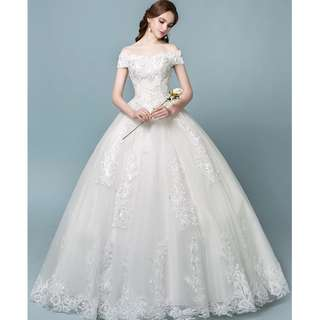 Wedding Collection - Royal Princess T-Off Shoulder Style Puffy Wedding Gown