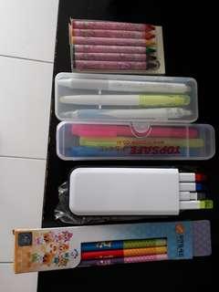 character pencil set, highlighter, pen.