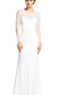 Adrianna Papell Embellished Wedding Formal Dress - White/ Ivory
