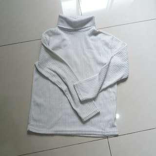🚚 高領白色毛巾布條紋長袖