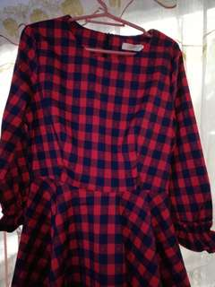 Red and dark blue plaid dress