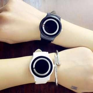 YBC 1 Pasang Harajuku Gaya Pasangan Watch PU Leather Strap QUARTZ Watches