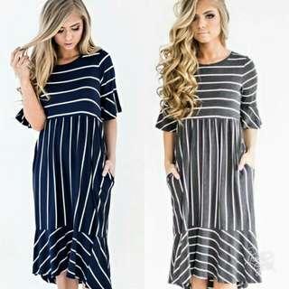 🍃Ruffled Sleeve Stripe Patch Pocket Dress