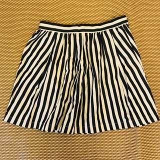 全新真品~~日本 LagunaMoon 藍色條紋 小打褶裙 (one size)