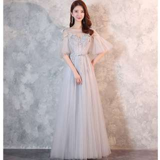 Gown Collection - Romantic Lotus Sleeves Love Shape Lace Gown