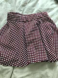 Burgundy checker a line mini skirt 紅色格仔裙