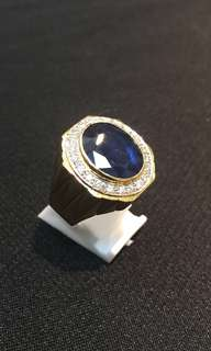 Natural srilankan blue sapphire setting with 20 pcs diamond in 18K gold ring