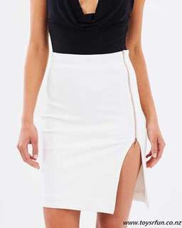 Fitted White Zip Skirt - Naked Official
