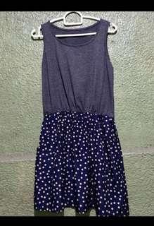 Grey Top and Polka Dots Bottom Dress