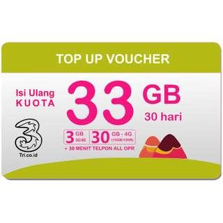 Voucher Tri 33 GB Full 24 Jam (3GB All + 30GB 4G) + Telp 30 menit All Operator