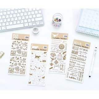 Retro Golden Stamped Decorated Stickers