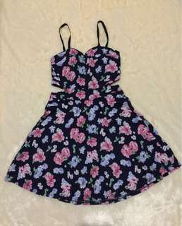 Open Side Floral Dress